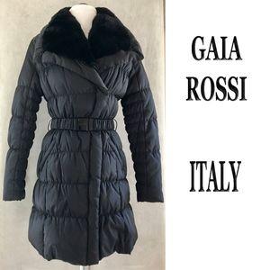 GAIA ROSS ITALY Black Real Fur Collar Puffer Coat